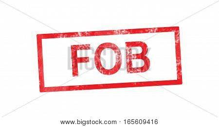FOB acronym in a red rectangular stamp
