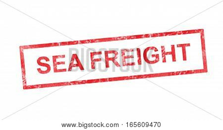 Sea freight in a red rectangular stamp