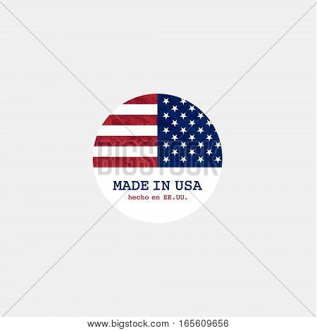 Grunge made in USA stamp with flag. Stars and stripes