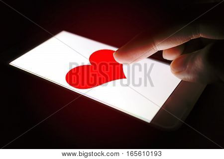 Valentines Day Concept, Person Sending Heart Red Message For Lover.