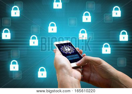 Cyber security network concept man holding smartphone with icons lock networking on backgroud.
