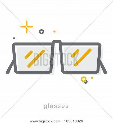 Thin line icons, Linear symbols, Glasses icon