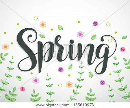 Spring text vector background design with colorful flowers, vines and leaves elements in white. Vector illustration.
