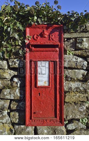Red Georgian Wall Post Box Charfield Gloucestershire