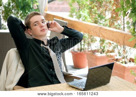 Portrait Of Young Man In The Business Suit, Businessman, Laptop, Mobile