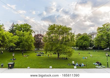 People Are Relaxing In Public City Park In Vienna, Austria