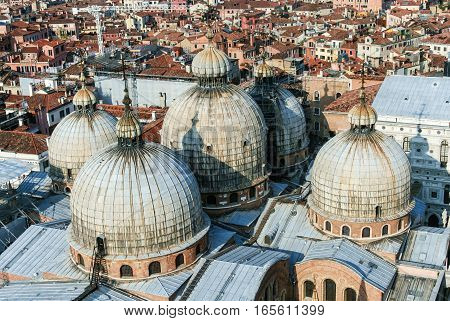 view to the roof of San Marco and the city of Venice from the campanile