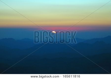 Sunrise on Sinai mountains Egypt morning landscape