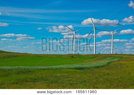 Eco Wind Power Generator On The Grassland