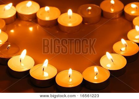 Candles in heart shape,Closeup
