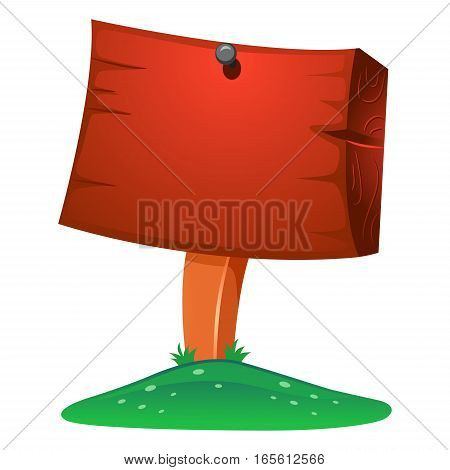 Illustration of Blank Wooded Signage  on Field