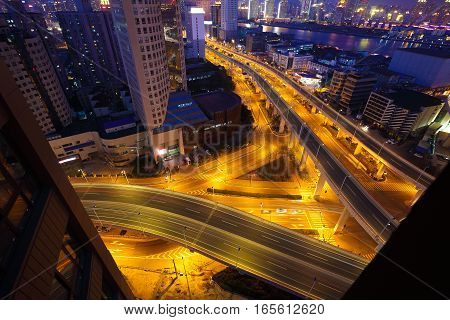 Aerial Photography At City Viaduct Overpass Bridge Of Night