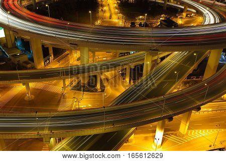 Aerial Photography At Shanghai Viaduct Overpass Bridge Of Night Scene