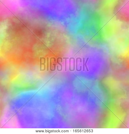 Abstract colorful smoke. Multicolor clouds.  Rainbow cloudy pattern. Blurry gas. Steam. Fog. Foggy color spectrum.  Texture background. Seamless illustration.