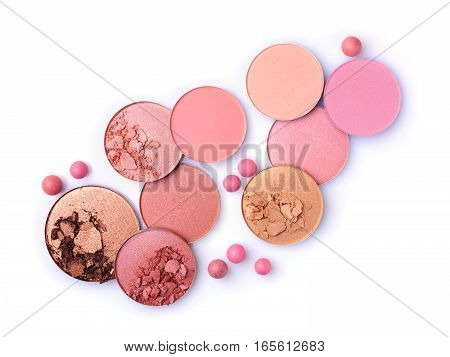 Crushed Pink, Beige And Golden Blush And Eyeshadow