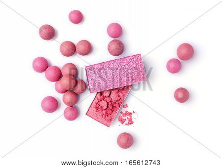 Pink And Beige Blush Balls And Eyeshadow
