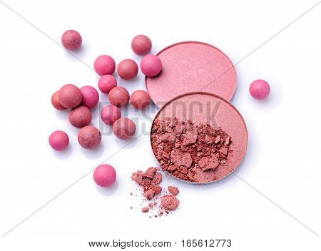 Pink And Beige Blush Balls And Blush Powder