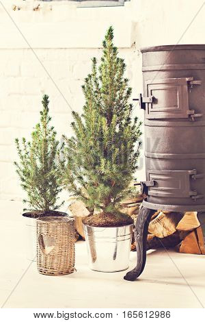 Black cast iron stove firewood and fir-trees and candle. Winter New Year's decor. Scandinavian style interior.