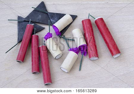 Different types of firecrackers - top view