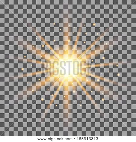 Gold rays light effect isolated on transparent background. Vector illustration.