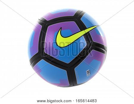 SWINDON UK - JANUARY 16 2017: Nike Pitch Football on white background Nike Inc is an American multinational corporation