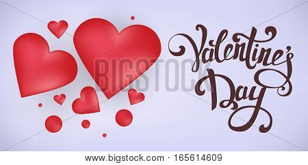 Happy Valentine's Day greeting card. Red hearts with 3D effect on gentle light purple background with hand drawn vintage lettering. Vector illustration.