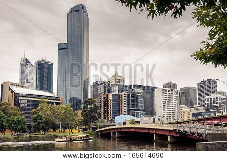 Melbourne Australia - December 27 2016: Melbourne City Business District viewed across the Yarra River