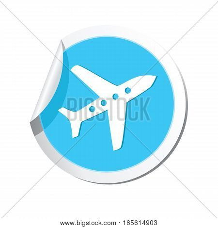 Airplane icon on the sticker. Vector illustration