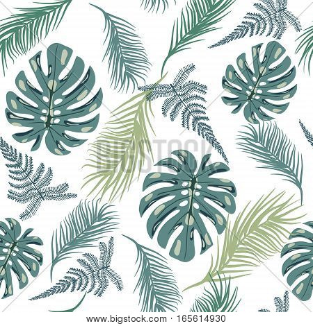 Vector background tropical trendy seamless pattern with exotic plant leaves illustration.