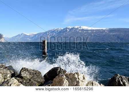 Lake Garda in the storm in a winter day - Brescia - Lombardy - Italy