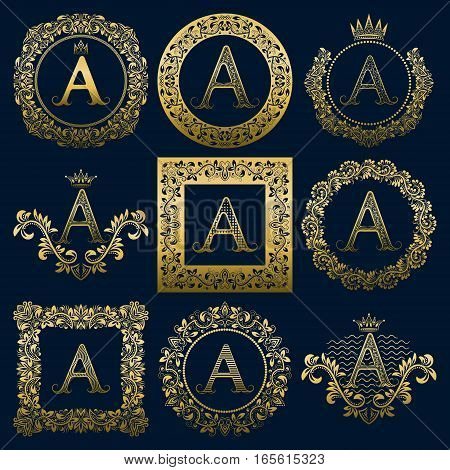 Vintage monograms set of A letter. Golden heraldic logos in wreaths round and square frames.
