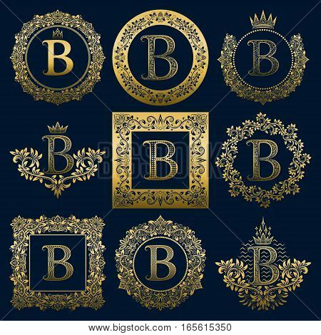 Vintage monograms set of B letter. Golden heraldic logos in wreaths round and square frames.