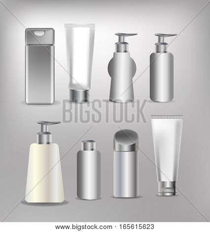 Vector cosmetics containers cream deodorant packaging box