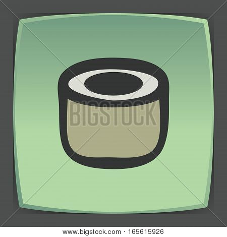 Vector outline sushi rice roll japan food icon on green flat square plate. Elements for mobile concepts and web apps. Modern infographic logo and pictogram.