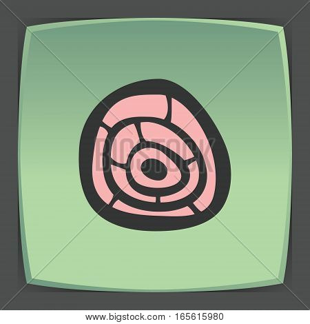 Vector outline pork, beef, mutton meat cutting food icon on green flat square plate. Elements for mobile concepts and web apps. Modern infographic logo and pictogram.