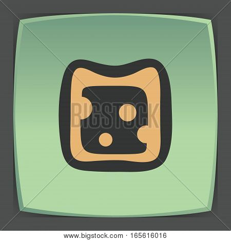 Vector outline cheese sandwich fruit food icon on green flat square plate. Elements for mobile concepts and web apps. Modern infographic logo and pictogram.