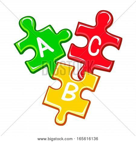 Vector Illustration of Colorful ABC Puzzle Pieces