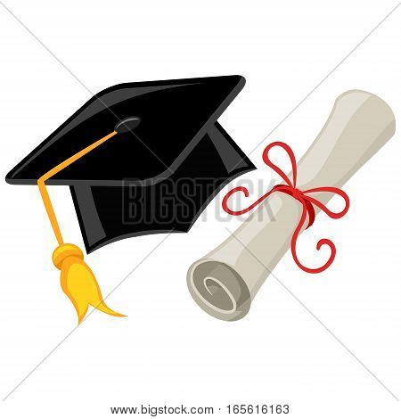Illustration of Graduation cap, mortarboard and Diploma