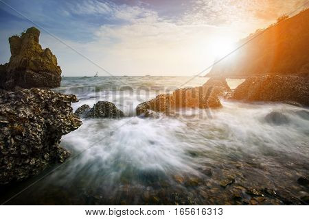 beautiful sea scape photography in leam chabang chonburi eastern thailand