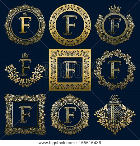 Vintage monograms set of F letter. Golden heraldic logos in wreaths round and square frames.