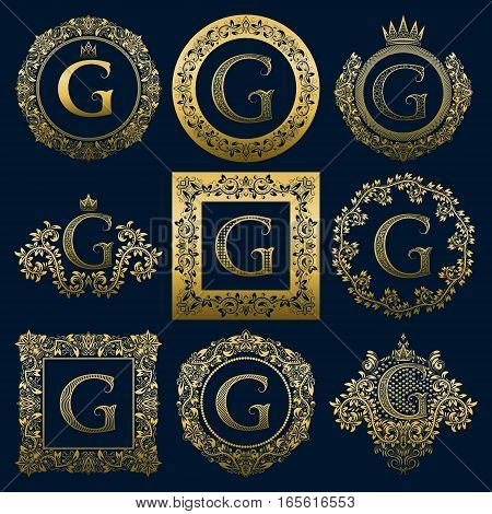 Vintage monograms set of G letter. Golden heraldic logos in wreaths round and square frames.