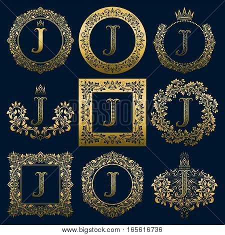 Vintage monograms set of J letter. Golden heraldic logos in wreaths round and square frames.