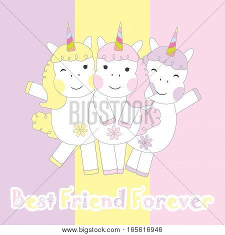 Friendship day card with cute three unicorns suitable for friendship greeting card, postcard, and wallpaper