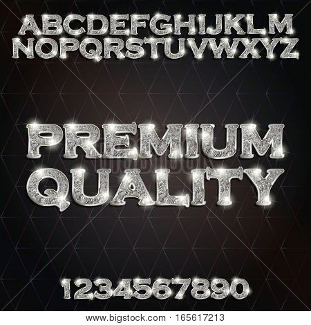 Premium quality silver glowing alphabet and numbers on a dark background. Vector illustration for your graphic design.