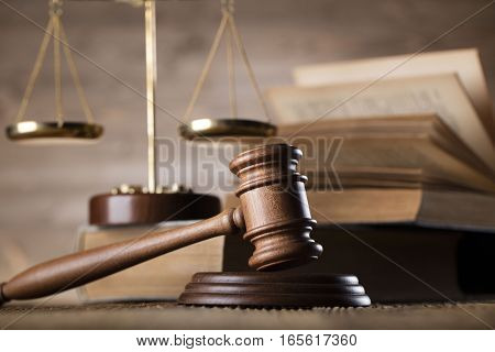 Law and justice concept - gavel and scale and legal code