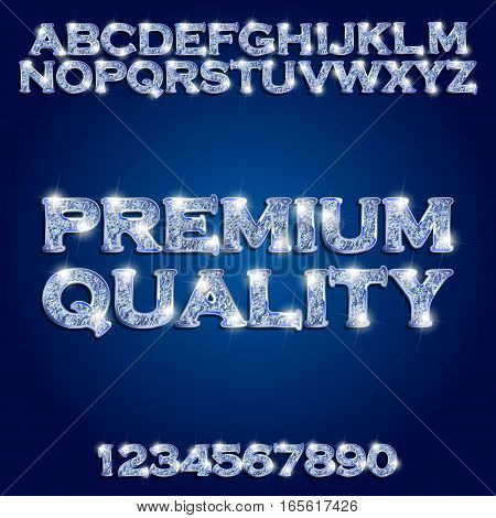 Premium quality Golden glowing blue alphabet and numbers on a dark background. Vector illustration for your graphic design.