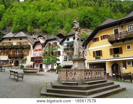 The picturesque Marktplatz or Market Square, UNESCO World Heritage village of Hallstatt, Austria