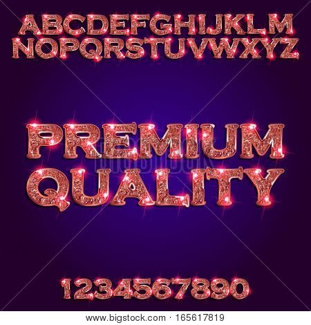 Premium quality Golden glowing violet alphabet and numbers on a dark background. Vector illustration for your graphic design.