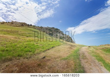 trail near mountain peaks / bright summer landscape travel Crimea
