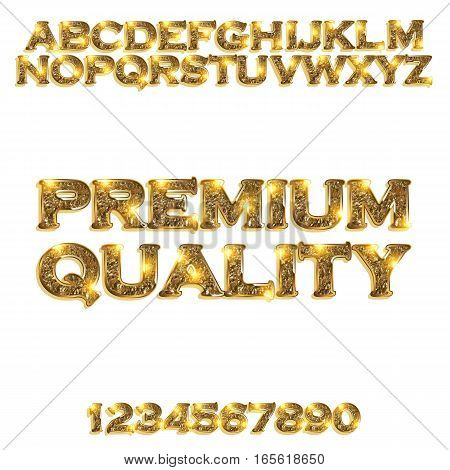 Premium quality. Golden glowing alphabet and numbers on a white background. Vector illustration for your graphic design.